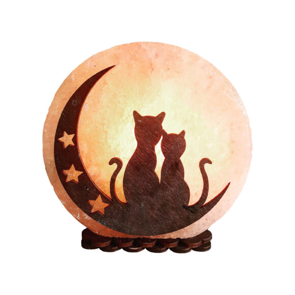 """Соляна лампа """"Коти на Місяці"""" 3-4кг"""
