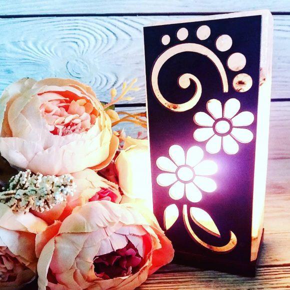 """Соляна лампа """"Квітковий візерунок"""" 2кг"""