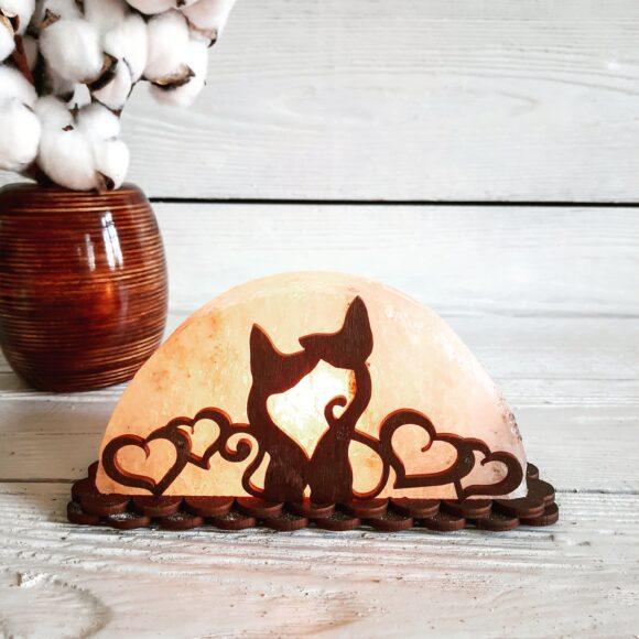 "Соляна лампа ""Коти з серцями"" 1,5кг"