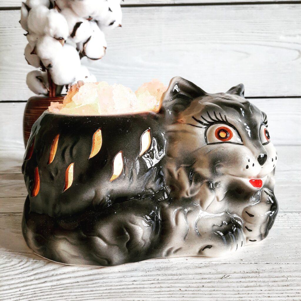 """Соляний світильник """"Кіт"""" 3-4кг"""